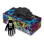 Manusi Graffiti Gloves Latex negre - S - 10buc
